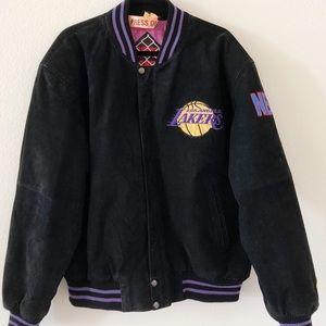 Vintage LA LAKERS Suede Leather Jacket Sz XL
